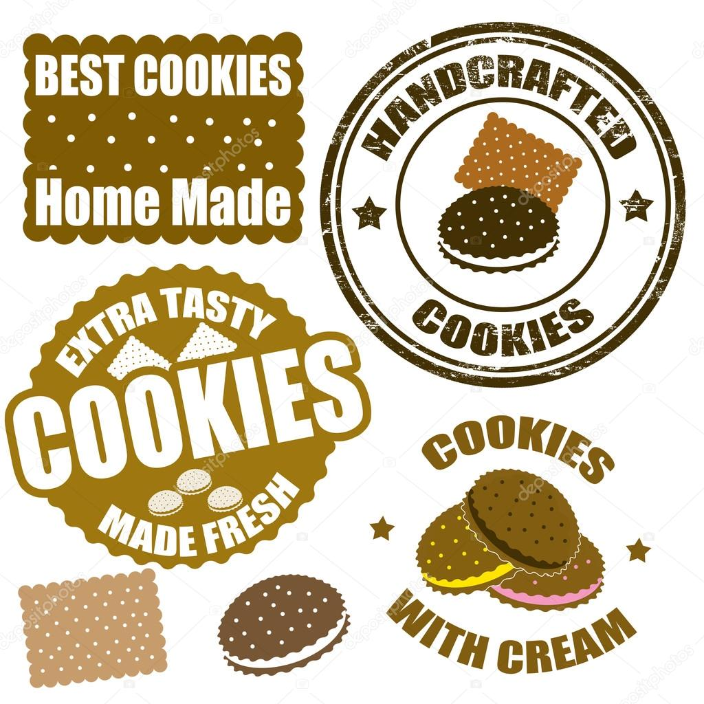 Set of cookies stamps and labels — Stock Vector ...