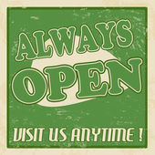 Always open poster — Stock Vector