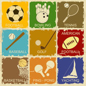Set of Vintage Sports — Stock Vector