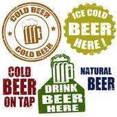 Zimne piwo znaczki — Wektor stockowy