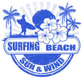 Surfing beach stamp — Stock Vector