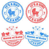 Baby boy and baby girl stamps — Stock Vector