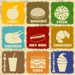 Vintage food icons — Vector de stock