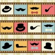 Retro background with film strips, mustaches hats and pipes — Stock Vector