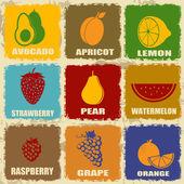 Vintage fruits icons — Vector de stock
