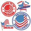 Royalty-Free Stock Vector Image: Proud to be american signs and stamps