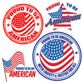 Proud to be american signs and stamps — Stock Vector