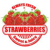 Strawberries stamp — Stock Vector