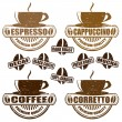 Stock Vector: Types of coffee stamps