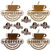 Types of coffee stamps — Stock Vector