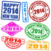 2014 new year stamps — Stock Vector