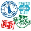 Stock Vector: Set of lactose free stamps