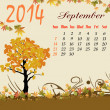 Calendar for 2014 September — Stock Vector