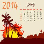 Calendar for 2014 July — Stock Vector