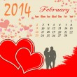 Calendar for 2014 February - Stock Vector