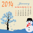 Calendar for 2014 January — Stock Vector