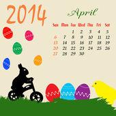 Calendario para abril de 2014 — Vector de stock