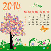 Calendar for 2014 May — Stock Vector