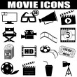 Movie icons set — Stock Vector