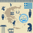 Greek symbols on the Greece map - Stock Vector