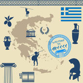 Greek symbols on the Greece map — Stock Vector