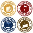 Stock Vector: Set of happy hour stamps