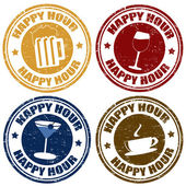 Set van happy hour postzegels — Stockvector
