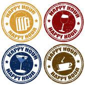 Set of happy hour stamps — Stock Vector