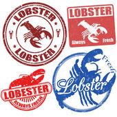 龙虾邮票一套 — 图库矢量图片