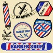 Stock Vector: Set of vintage barber shop labels and stamps