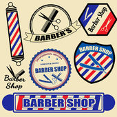 Set of vintage barber shop labels and stamps — Stock Vector