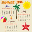Summer calendar 2014 — Stock Vector