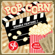 Royalty-Free Stock Vector Image: Popcorn with clapper board and movie tickets vintage poster