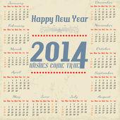Calendario vintage año 2014 — Vector de stock