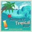 Poster of vintage seaside tropical bar — Stock Vector