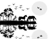 Wild horses on beautiful landscape — Stock Vector