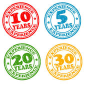Set of years of experience stamps — Stock Vector