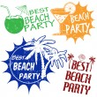 Set of beach party stamps — Stock Vector