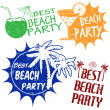 Set of beach party stamps — Stock Vector #26509027