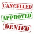 Stock Vector: Cancelled, approved, denied stamps