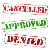 Cancelled, approved, denied stamps — Stock Vector