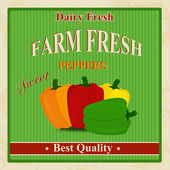 Vintage farm fresh peppers poster — Stock Vector