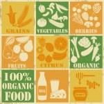 set di icone di cibi biologici e sani — Vettoriale Stock