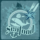 Seafood vintage poster — Stock Vector
