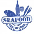 Seafood stamp — Vector de stock