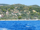View of the sea at typical greek island — Foto Stock
