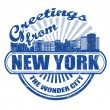 Greetings from New York stamp — Stok Vektör