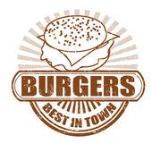 Burgers stamp — Stock Vector