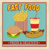 Vintage fast food menu — Vetorial Stock