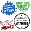 Excellent source of vitamin D stamps — Stock Vector